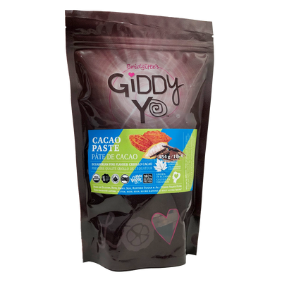 Package - Giddy Yo CACAO PASTE (Ecuador) Certified Organic 454g / 1 lb