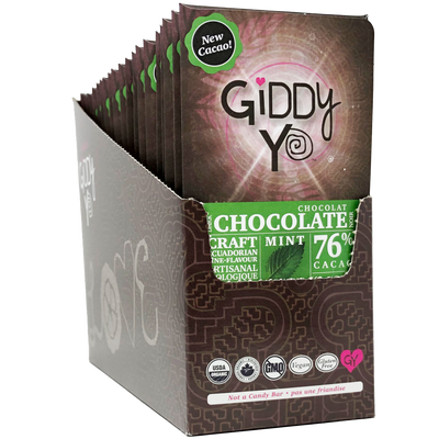 ** NEW & IMPROVED ** MINT 76% Dark Certified Organic Case of 20 bars