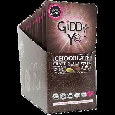 Giddy Yo Chocolate Moka Cardamom 72% Dark Certified Organic Case of 20 bars