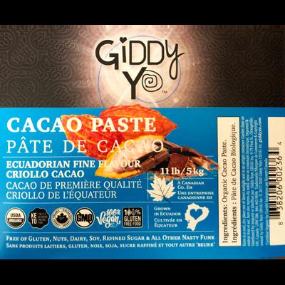 Giddy Yo CACAO PASTE (Ecuador), BULK 5 KG, Certified Organic