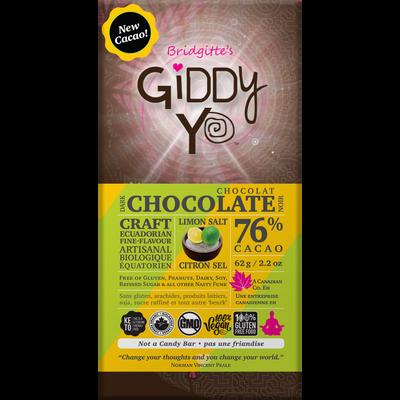 Giddy Yo Limon Salt 76% Dark Chocolate Bar Certified Organic 62g Front
