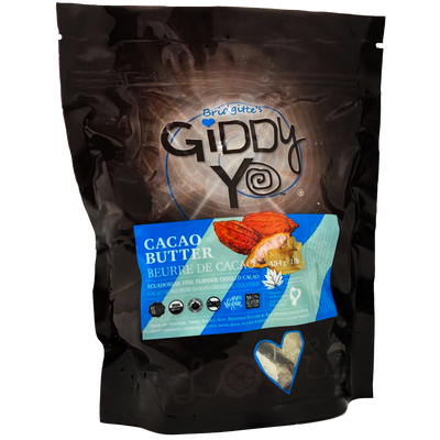 Giddy Yo PackagePhoto-CACAO BUTTER (Ecuador), 454 G / 1 LB, Certified Organic (CBT-ORG-454)