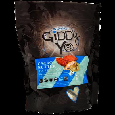 Giddy Yo PackagePhoto-CACAO BUTTER (Ecuador), 454 G / 1 LB, Certified Organic (CBT-ORG-454)