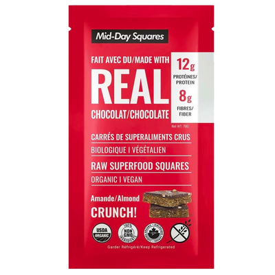 Almond Crunch Mid-Day Squares, 70g, Org & Vegan, Refrigerated Front