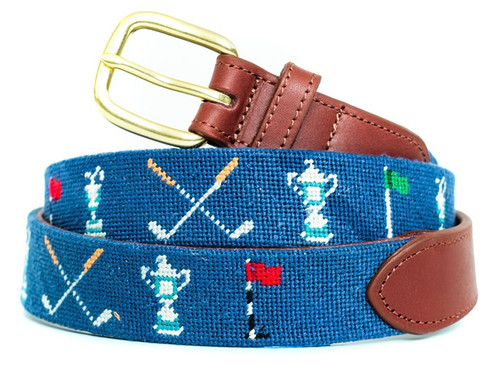 Golf Trophy Needlepoint Belt
