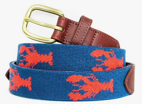 Red Lobsters Needlepoint Belt