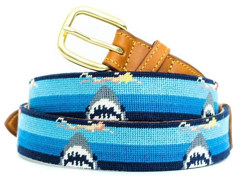 Swimming Sharks Needlepoint Belt