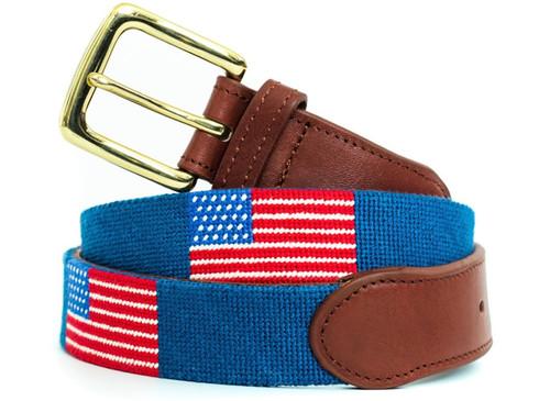 USA Flag On Bright Blue Needlepoint Belt