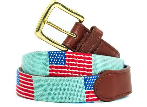 USA Flag On Light Green Needlepoint Belt