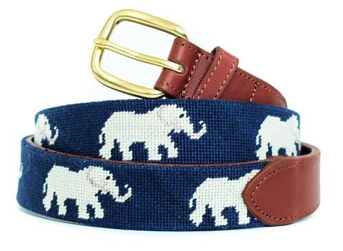 Elephants Needlepoint Belt
