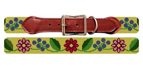 Fresh Floral Needlepoint Dog Collar
