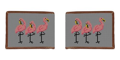 Fancy Flamingos Needlepoint Wallet