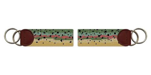 Rainbow Trout Skin Needlepoint Key Fob