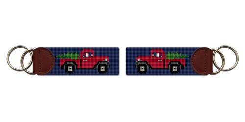 Santa's Red Truck Needlepoint Key Fob