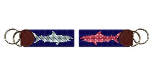 Preppy Great White Shark Needlepoint Key Fob