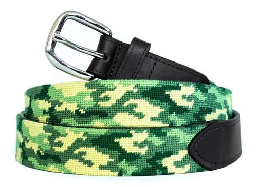 Green Camo Needlepoint Belt