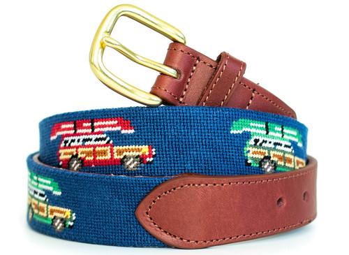 Wagoneer And Canoe Needlepoint Belt