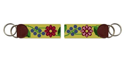 Fresh Floral Needlepoint Key Fob