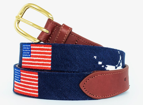 Nantucket and the USA Flag Needlepoint Belt
