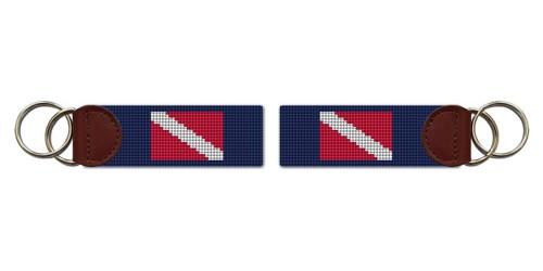 Scuba Diving Flag Needlepoint Key Fob