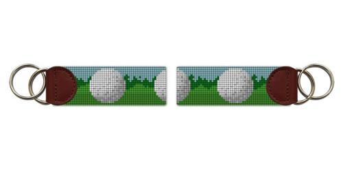 Golf Ball Needlepoint Key Fob