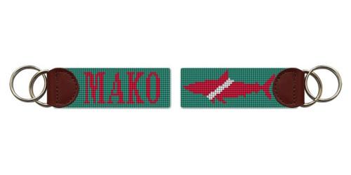 Mako Shark Needlepoint Key Fob