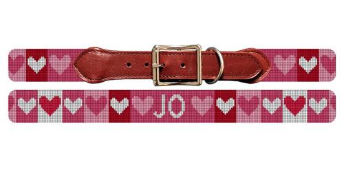 Valentine Needlepoint Dog Collar