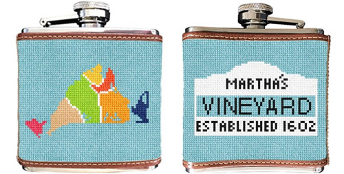 Martha's Vineyard Map Needlepoint Flask