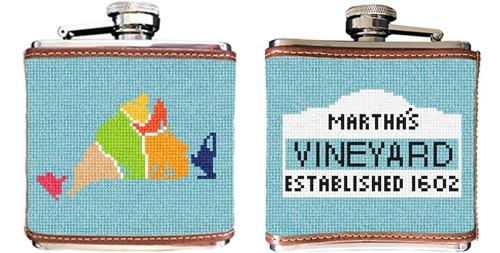 Martha's Vineyard Map Needlepoint Flask