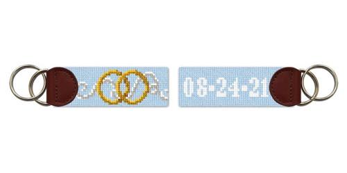 Wedding Rings Needlepoint Key Fob
