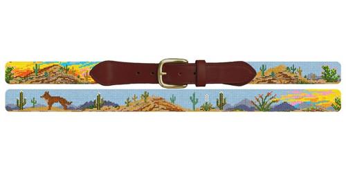 Desert Sunset Landscape Needlepoint Belt