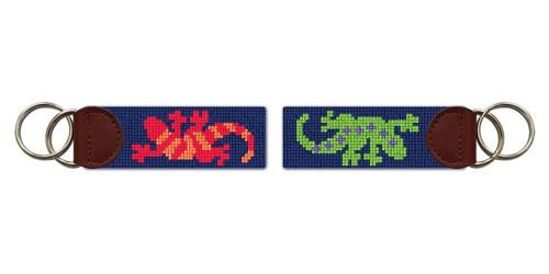 Southwestern Gecko Needlepoint Key Fob