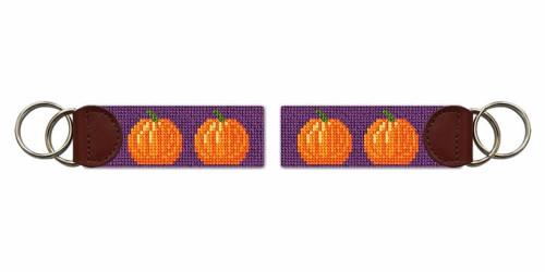 Tiny Pumpkins Needlepoint Key Fob