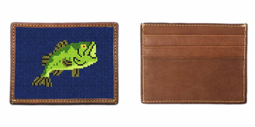 Big Mouth Bass Fishing Needlepoint Card Wallet