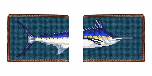 Blue Marlin Needlepoint Wallet
