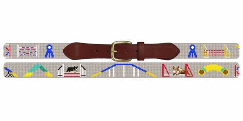 Dog Agility Competition Needlepoint Belt