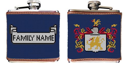 Family Crest Needlepoint Flask