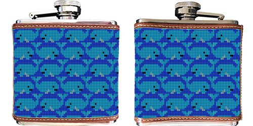 Whale Needlepoint Flask
