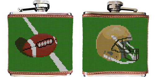 Custom Football Needlepoint Flask