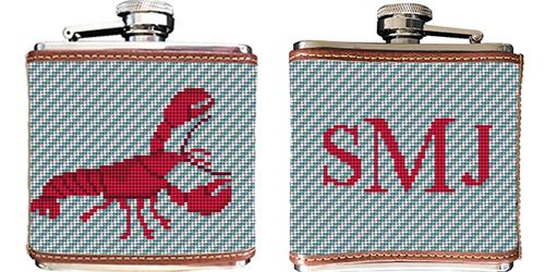 Lobster Needlepoint Flask
