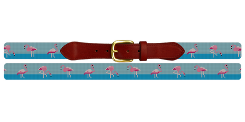 Flamingo Needlepoint Belt