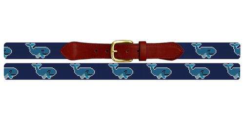 Preppy Whale Needlepoint Belt