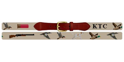 Duck Hunting Needlepoint Belt