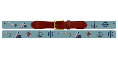 Nautical Sailing Needlepoint Belt