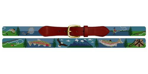Mountain Stream Fly Fishing Needlepoint Belt