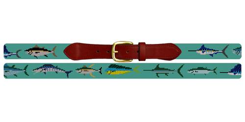 Tropical Game Fish Needlepoint Belt
