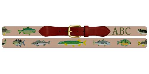 Freshwater Fish Needlepoint Belt