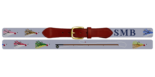 Fly Fisherman Needlepoint Belt