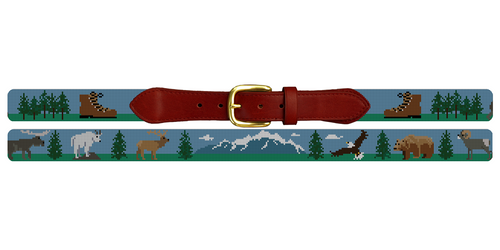 Mountain Hiking Needlepoint Belt