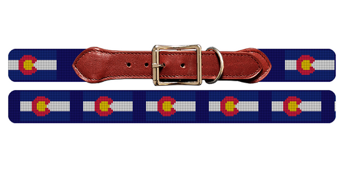 Colorado Flag Needlepoint Dog Collar